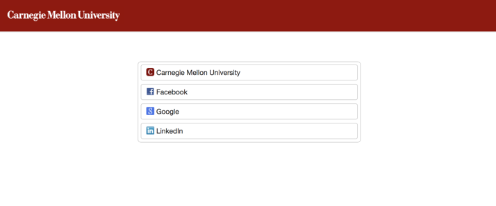 CMU Login Screen, showing social login for parents and guardians
