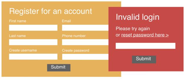 Registration screen - Invalid login warning
