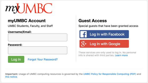 UMBC Login Screen