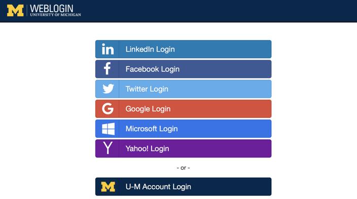 UMich Login screen, showing social or enterprise login for alumni accounts