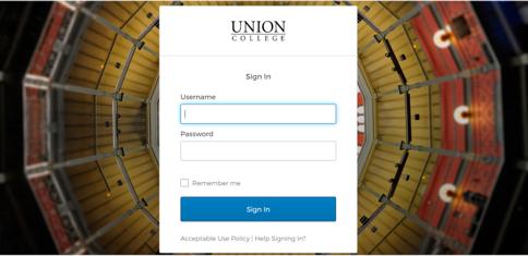 Union Login Screen