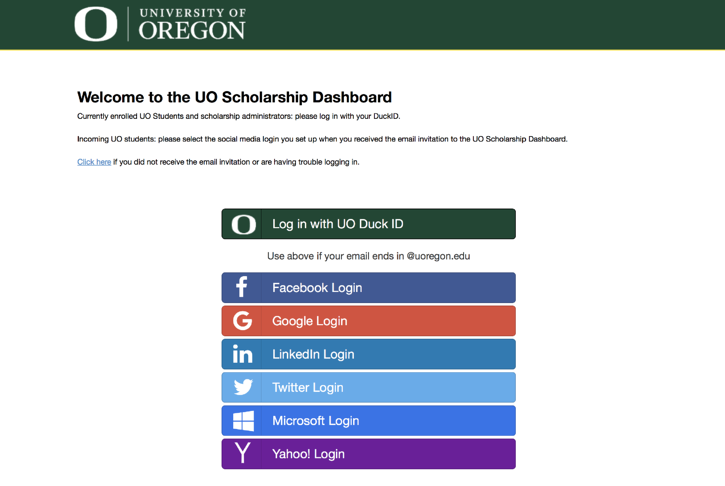 UofO Login Screen, showing social login and enterprise login for scholarship applicants
