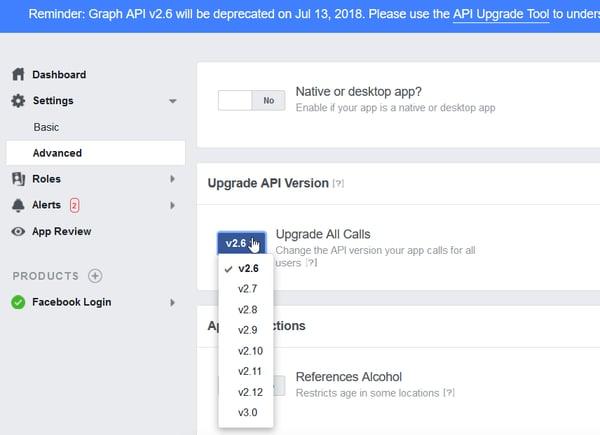 Screen Shot - Setting API in FB Developer Console